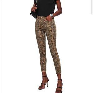 Current/Elliott Leopard Print Skinny Jeans 32